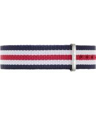 Daniel Wellington DW00200051 Dámy klasický Canterbury 36 mm stříbrná bílá modrá a červená nylon rezervní popruh