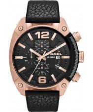 Diesel DZ4297 Pánská přetečení chronograf černý kožený řemínek hodinky