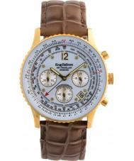 Krug-Baumen 400201DS Air cestovatel diamond white dial hnědý řemínek