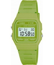 Casio F-91WC-3AEF Pánská kolekce retro zelená chronograf hodinky