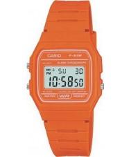 Casio F-91WC-4A2EF Pánská kolekce retro oranžové chronograf hodinky