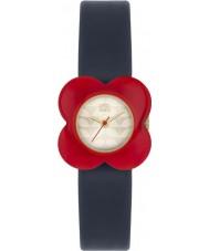 Orla Kiely OK2062 Dámy mák červený květ případ navy kožený řemínek hodinky