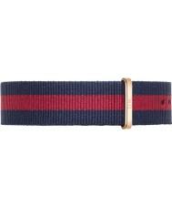 Daniel Wellington DW00200001 Pánská klasický 40mm Oxford růžové zlato modrý a červený nylonový rezervní popruh