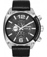Diesel DZ4341 Pánská přetečení chronograf černý kožený řemínek hodinky