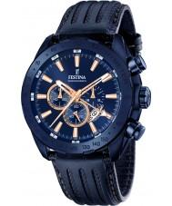 Festina F16898-1 Pánská prestiž modrá kůže chronograf hodinky