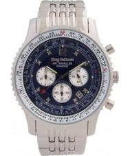 Krug-Baumen 600304DS Pánská vzduchu cestovatel diamantové stříbrné chronograf hodinky