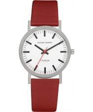 Danish Design Q19Q199 Pánská červený kožený řemínek hodinky