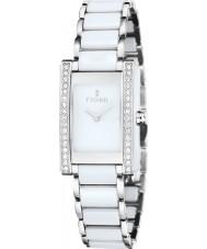 Fjord FJ-6013-33 Dámy vihelmina stříbrné bílé keramické hodinky